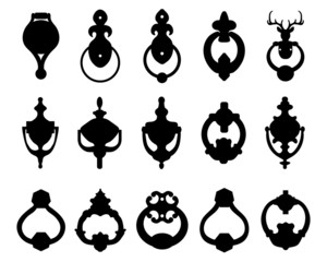 Black silhouettes of door knocker 2, vector illustration