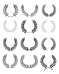 Big set of black silhouettes of laurel wreaths, vector