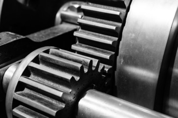 Gear closeup in black and white