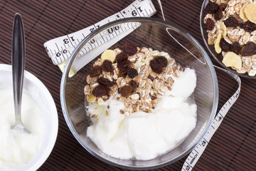 Natural yogurt with muesli
