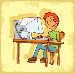 Cartoon computer internet  illustration
