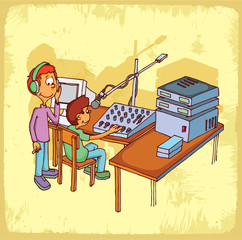 Cartoon radio  illustration
