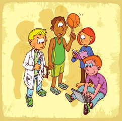 Cartoon sport school  illustration