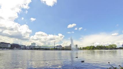 View across the Inner Alster Lake in Hamburg, Germany