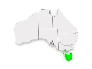 Map of Tasmania. Australia.