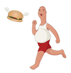 Obese Man Chasing Flying Burger