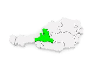 Map of Salzburg. Austria.