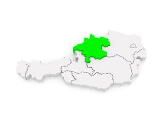Map of Upper Austria. Austria.