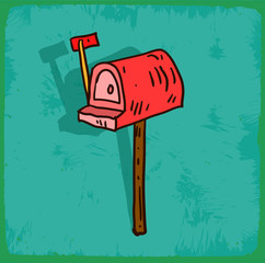 Cartoon mail box illustration