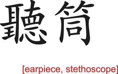 Chinese Sign for earpiece, stethoscope