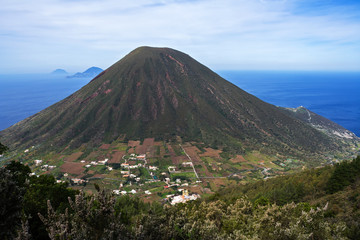 Italian Aeolian Islands mountain volcano in Sicily