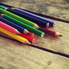 Color pencils old retro vintage style