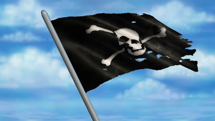 Looping Pirate Jolly Roger Flag animation with sky background