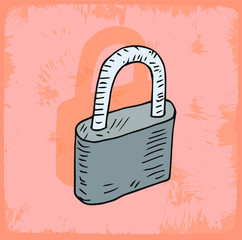Cartoon padlock  illustration
