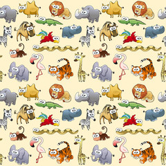 Savannah animals with background.