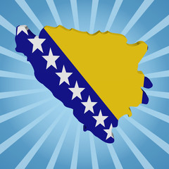 Bosnia map flag on blue sunburst illustration