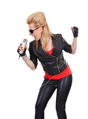 girl with microphone singer