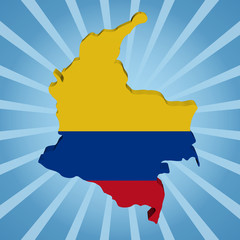 Colombia map flag on blue sunburst illustration