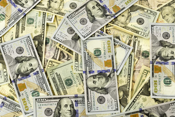 Many Dollar Bills Spread Out Close-up