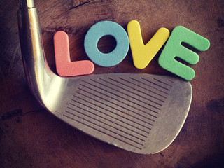 Love golf on wood background old retro vintage style