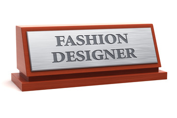 Fashion designer job title on nameplate
