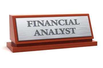 Financial analyst job title on nameplate