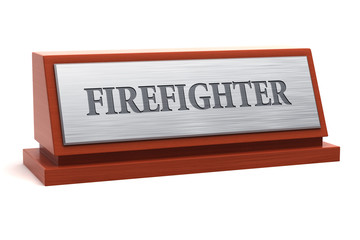Firefighter job title on nameplate