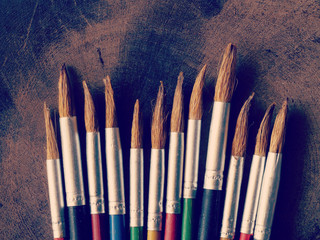 paint brush on wood background old retro vintage style