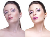Beauty retouch portrait, before and after poster