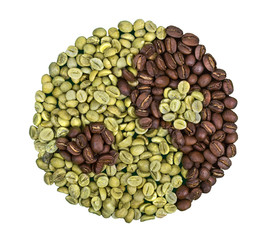 Yin-yang made of green and roasted beans