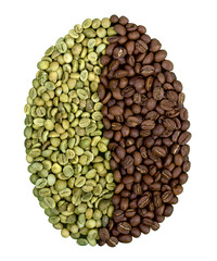 Symbol of coffee bean with green and roasted beans