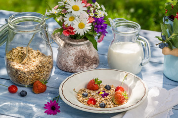 Breakfast with oatmeal, fruit and milk