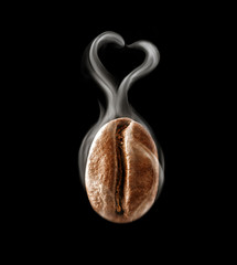 Hot coffee bean in a heart-shaped steam