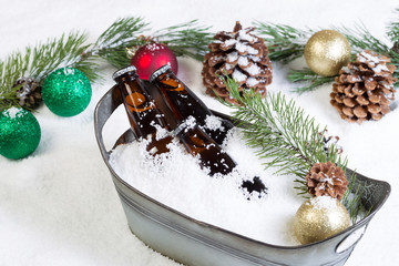 Closeup of bottled beer ready to drink during the seasonal holid
