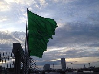 dawn and flag