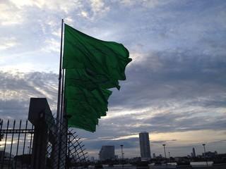 dawn and flag