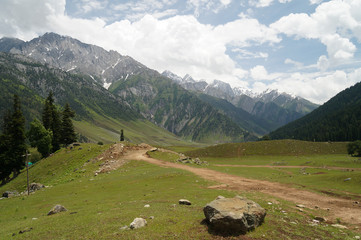 Beautiful path to snow mountains, Sonamarg