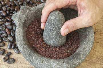 Grinding cacao in mortar and pestle