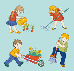 Cute Children Vectors Graphics