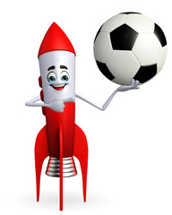 Rocket character with football