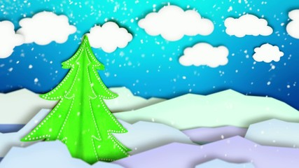 Winter Landscape Paper Scene Loop Animation