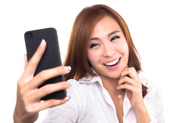 Pretty girl take a self portrait with her smart phone.