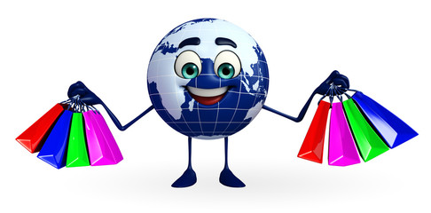 Globe Character with shopping bags