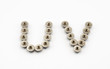 U and V Alphabet, Created by Stainless Steel Hex Flange Nuts