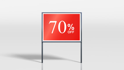 shop signage stands 70 percent off sign