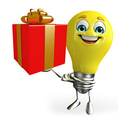 Light Bulb Character with gift box