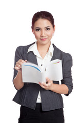 Asian business woman smile with a book