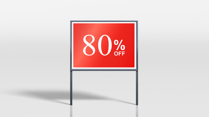 shop signage stands 80 percent off sign