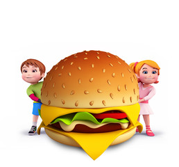 Cute kids with burger