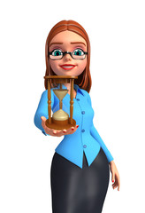 Young office girl with sand clock